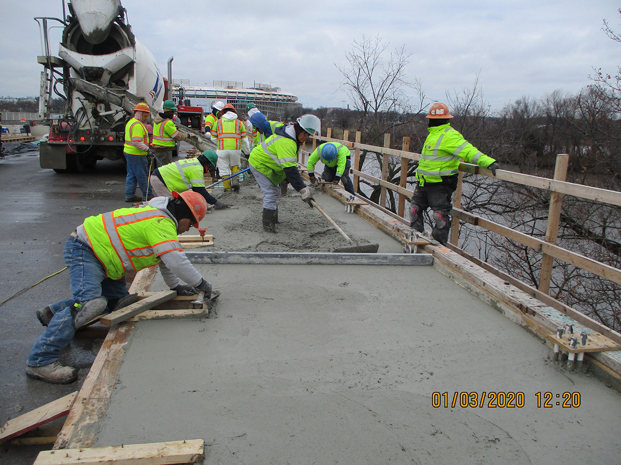 North Bridge Sidewalk Concrete Placement