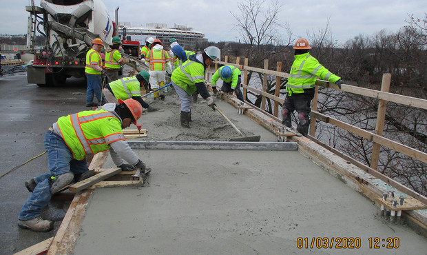 North Bridge Sidewalk Concrete Placement