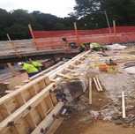 Form for proposed roughened concrete pour in progress on B1016 Abutment-B