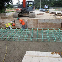 Forming Ramp C Approach Sleeper Slab, South Bridge.