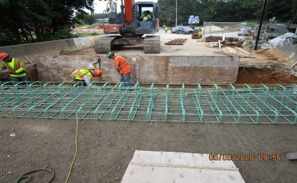 Forming Ramp C Approach Sleeper Slab, South Bridge.