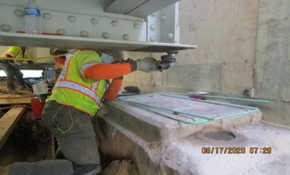 Bearing Replacement at East Abutment, South Bridge.
