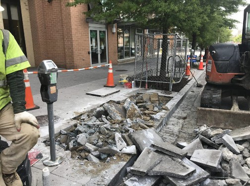 Excavating for Installation of Fire Hydrant between V Street and W Street