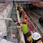Installing reinforcing steel bridge 1017, abutment A , stemwall and pier