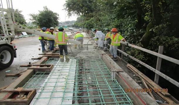 Bridge Sidewalk Concrete Placement, South Bridge.