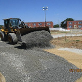 Placing GAB on Temporary Ramp B, East Side of the Project.