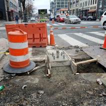 Street Light / Traffic Signal Foundation at the SW corner of Corcoran Street