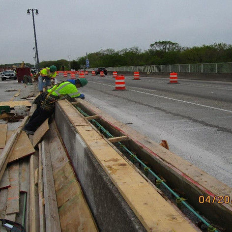 Repairing South Bridge Median Barrier.