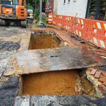 Excavation for CB-14 at the NW corner of Corcoran Street