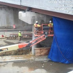 Chipping type 1 crack repair on Bridge 1016 pier cap between column 5 and 6.