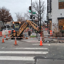 DEN demoing the existing curb, sidewalk and handicap ramp at the SW corner of T Street & 14th