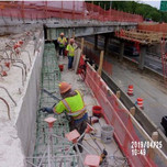 Installing reinforcing steel bridge 1017 abutment A stemwall and beam seats