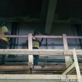 Installing Jacking Angles at Pier 14, South Bridge.