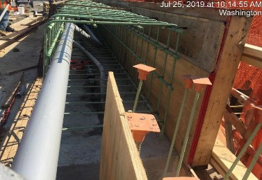 "2"" and 4"" PVC conduits installed in wingwall 2 parapet wall"