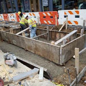 Forming the concrete walls of Bioretention Planter #1