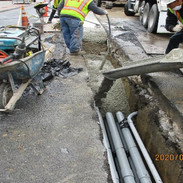 Placing concrete for duct bank.