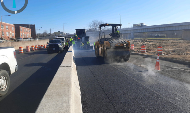 Paving Operation at East approach Eastbound - Looking east