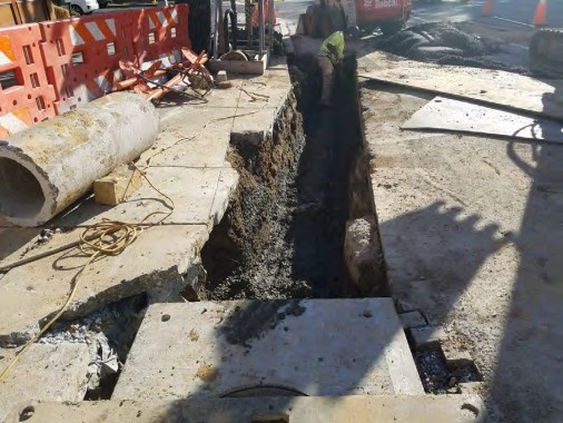 Installation of Combined Sewer connection pipe at the near 14th and Q Street