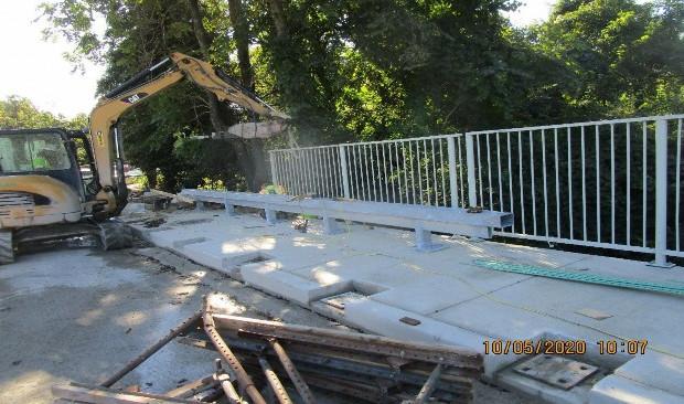 Resetting Existing Pedestrian Railing, South Bridge.