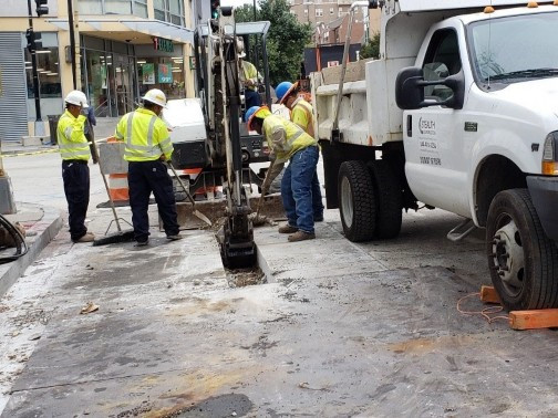 """PEPCO Contractor Stealth Const. run a new wires, conduits 4"""" PVC Sch. 40 from abandoned MH.on 14th St."""
