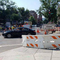 MOT Setup for Crosswalk Closed with Sign and Barricade