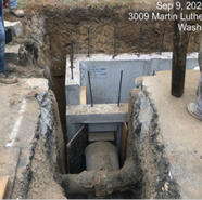 """Connecting 18"""" RCP from MH206 to triple catch basin PR2013 (Parkland/ MLK SB RT)"""