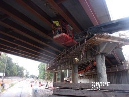 Installing intermediate diaphragms on Bridge 1016 span 2.