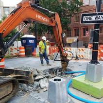 Demo of Old Traffic Signal Foundation at the NE corner of N Street