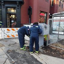 DDOT Technician Working on Traffic Control Cabinet for Relocation at SW Corner of P Street