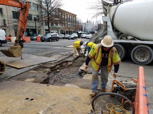 Placement of PCC Base at 14th and T