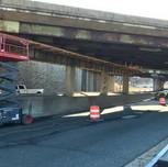 Contractor is installing overhangs on Pier Cap SB South Capitol Street, SW left lane