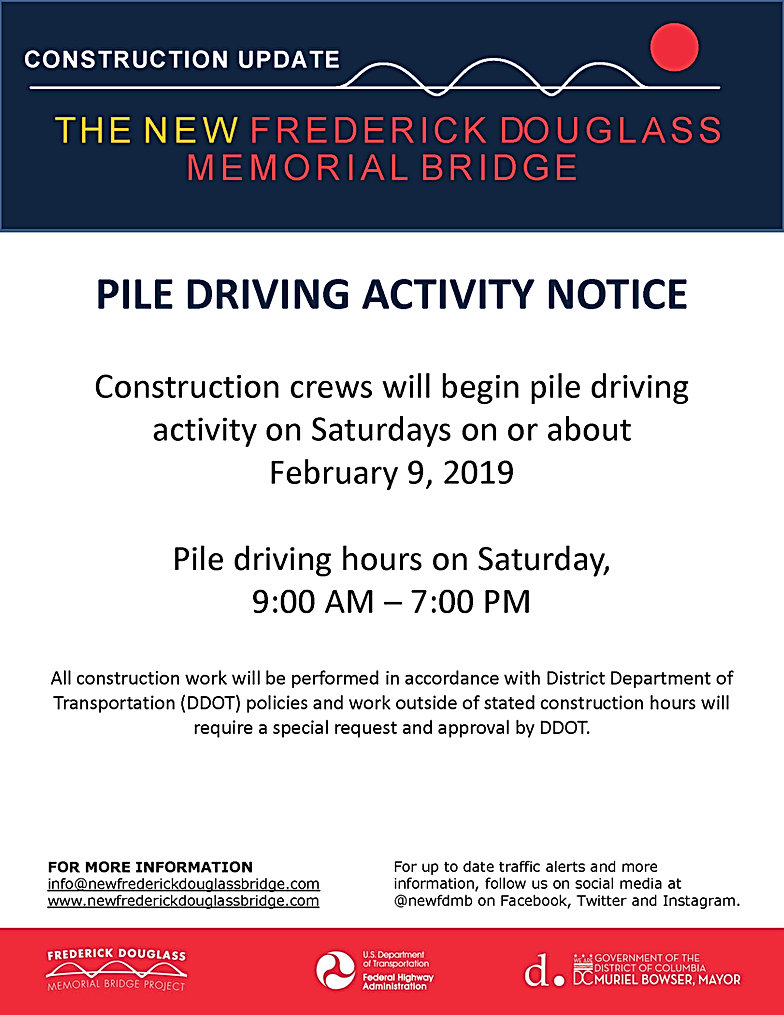 Construction crews will begin pile driving activity on Saturdays on or about February 9, 2019. Pile driving hours on Saturday, 9:00am - 7:00pm.