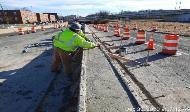 Median Barrier Construction, East Approach.