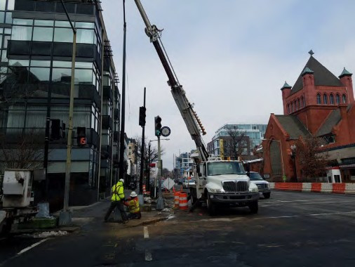 Installation Traffic Signal Pole at the NW Corner of 14th and Q Street