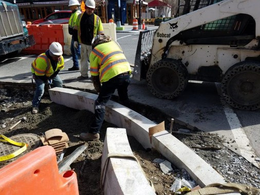 Installation of Granite Curb at the SW corner of 14th and Q Street