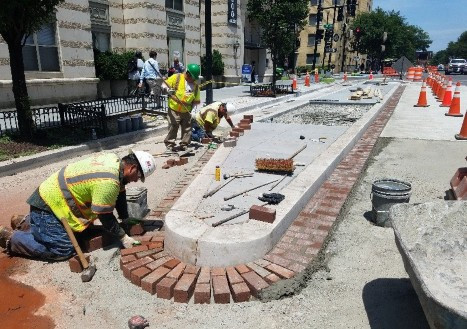 Brick gutter placement continued at south 14th & N St.