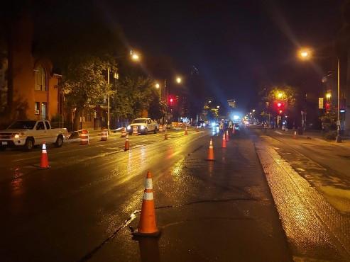 Proper MOT established along 14th St. during night shift paving operations