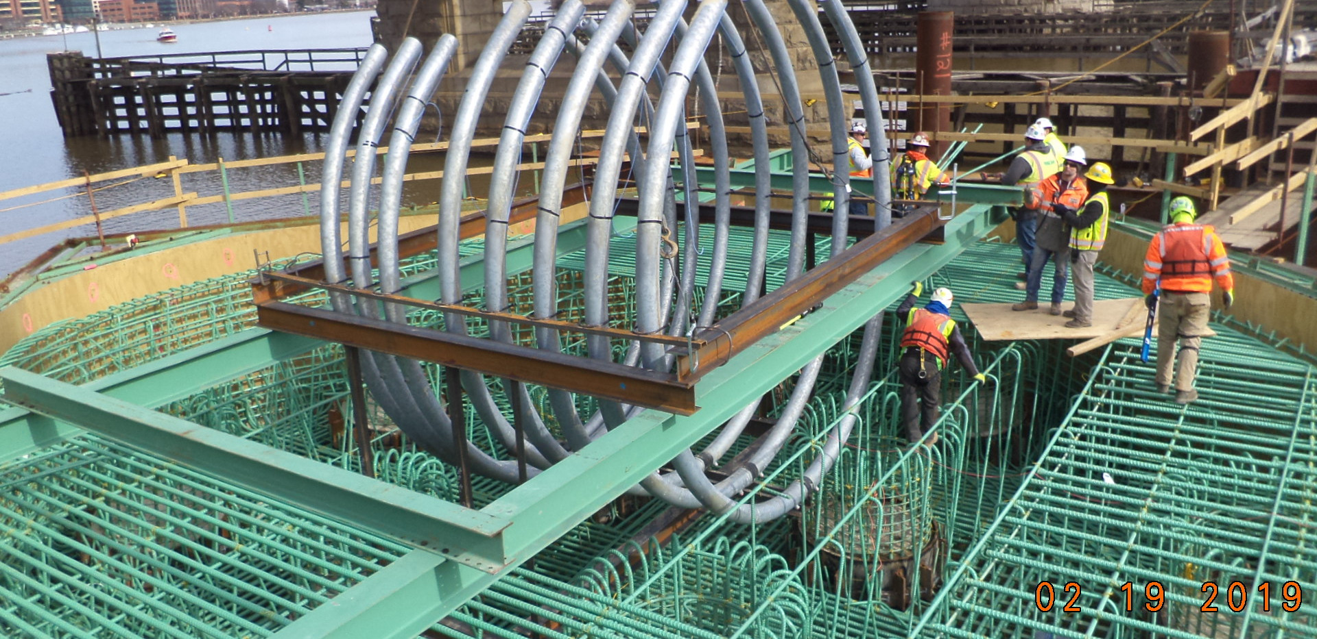 Installation of V-Pier 1 PT loop to support arches