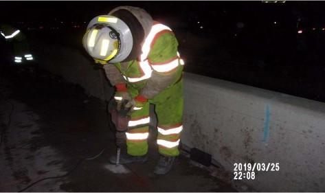 Drilling holes to install clips on Bridge 1016