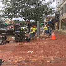 Clear Channel Subcontractor removing Bus Shelter at 14th and Rhode Island