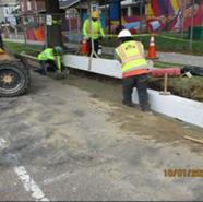 Installation of granite straight curb at SB MLK Sta: 46+90 to 47+75