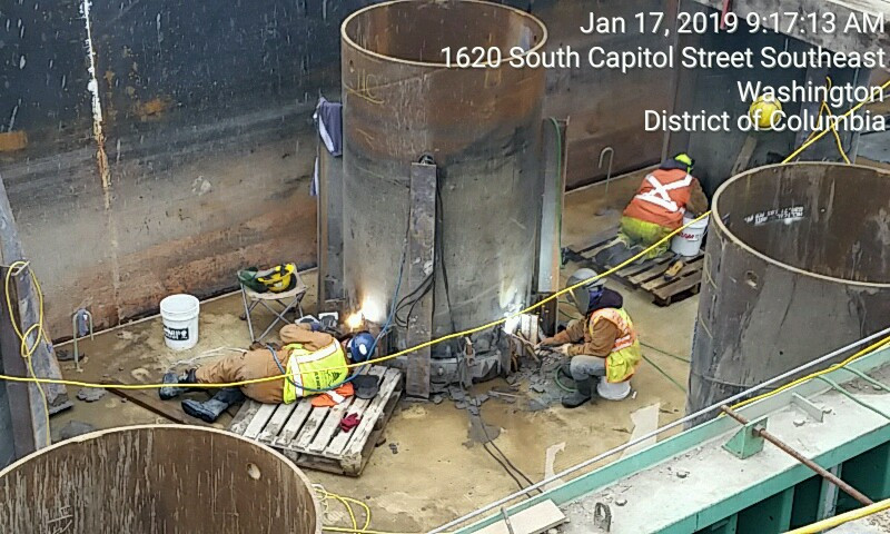 Welding support tab on 60 pile at FDMB Pier 1