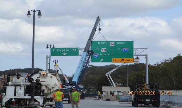 East Capitol Street Bridge Over Anacostia River, Overhead Sign South Bridge.
