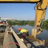 Cutting Existing Sidewalk Reinforcement, North Bridge