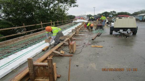 Sidewalk Rebar Installation, South Bridge.