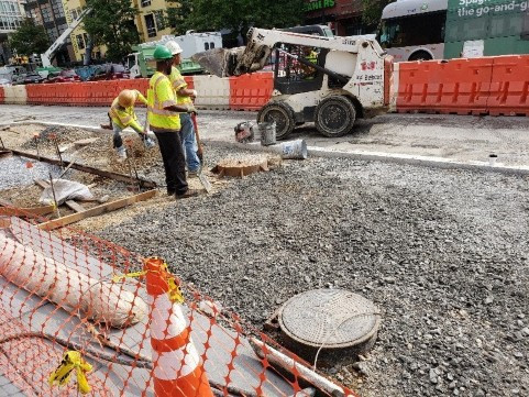 """DEN crew placed Burrow Embankment, topped with GAB 4"""" & compacted prior to placement PCC Sidewalk."""