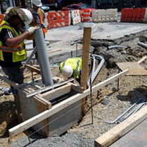 Formwork preparation of traffic signal foundation TS-40 by Omni Excavators