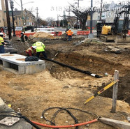 Placing underdrain pipe at SW2 at 5th Street & Alabama (where island was removed)