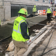 Placing Pervious concrete at Milwaukee/MLK SB RT at various locations