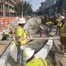 Bus Island granite curb installation at 14th St. NW & U St.